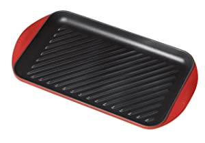 "Le Creuset L2032-4067 of of America Enameled Cast Iron 15 3/4"" x 9"" x 1""/X-Large Double Burner Grill, Cherry"