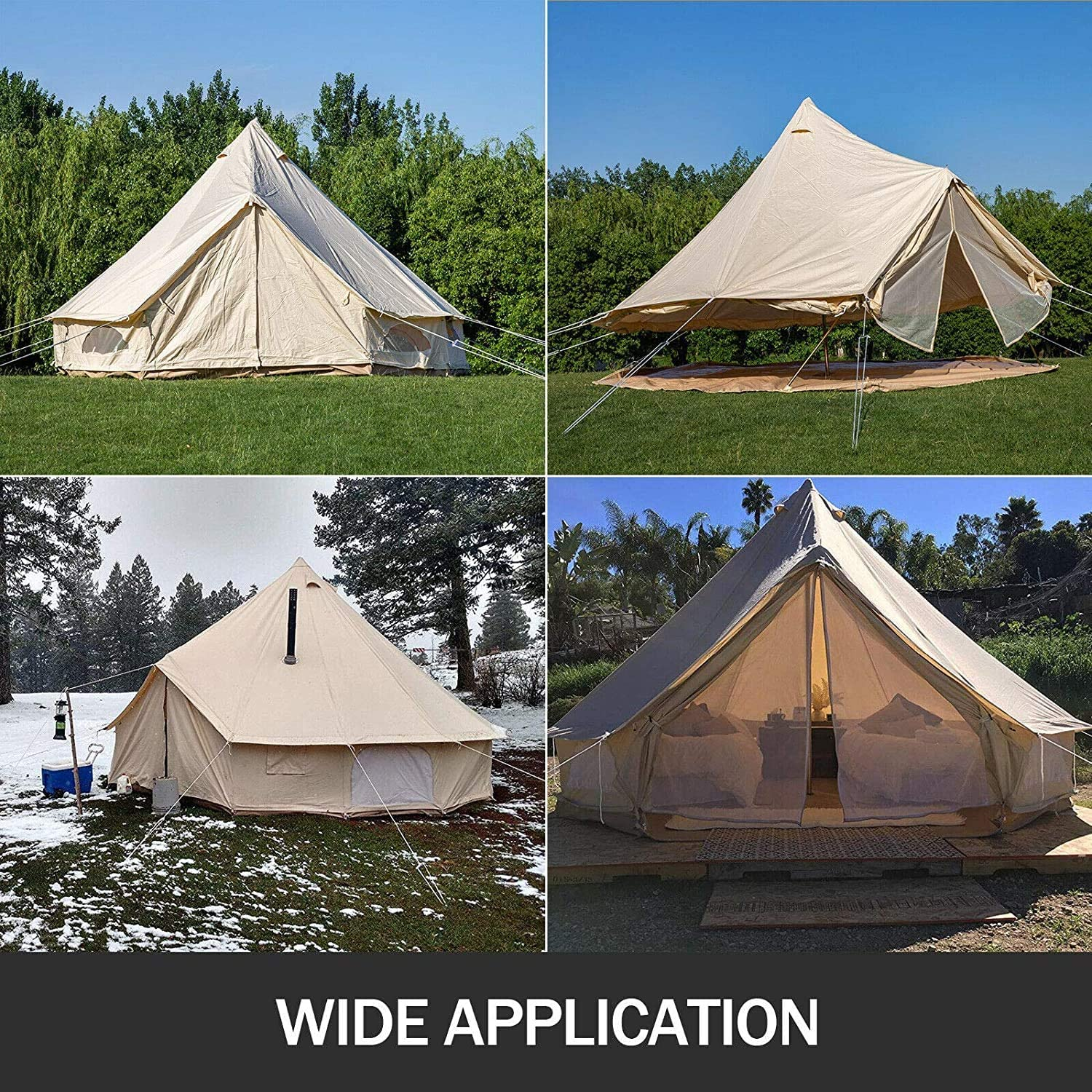 DNLM Bell Tent Canvas Tent with Stove Hole Cotton Canvas Tents Yurt Tent for Camping 4-Season Waterproof Bell Tent for Family Camping Outdoor Hunting,A-400cm