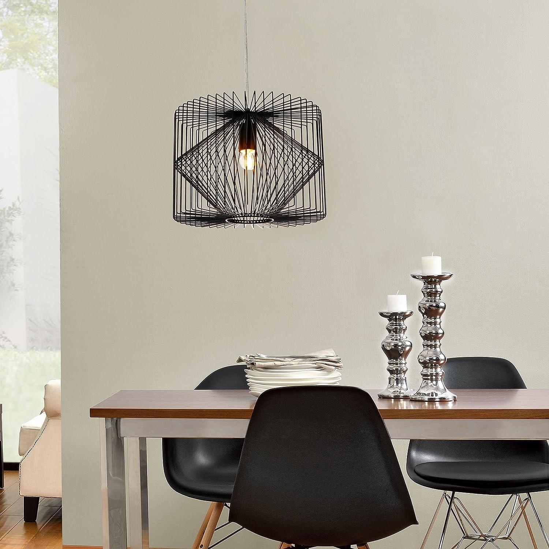 Luxpro Deckenleuchte Schwarz Metall Pendelleuchte Gitter Esszimmer Deckenlampe Vintage Retro Hngeleuchte Lampe LED Wohnzimmer Amazonde Beleuchtung