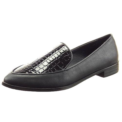 Sopily - Zapatillas de Moda Mocasines Bailarinas Tobillo mujer piel de serpiente patentes Talón Tacón ancho 2.5 CM - Negro FRF-6-LX096 T 41: Amazon.es: ...