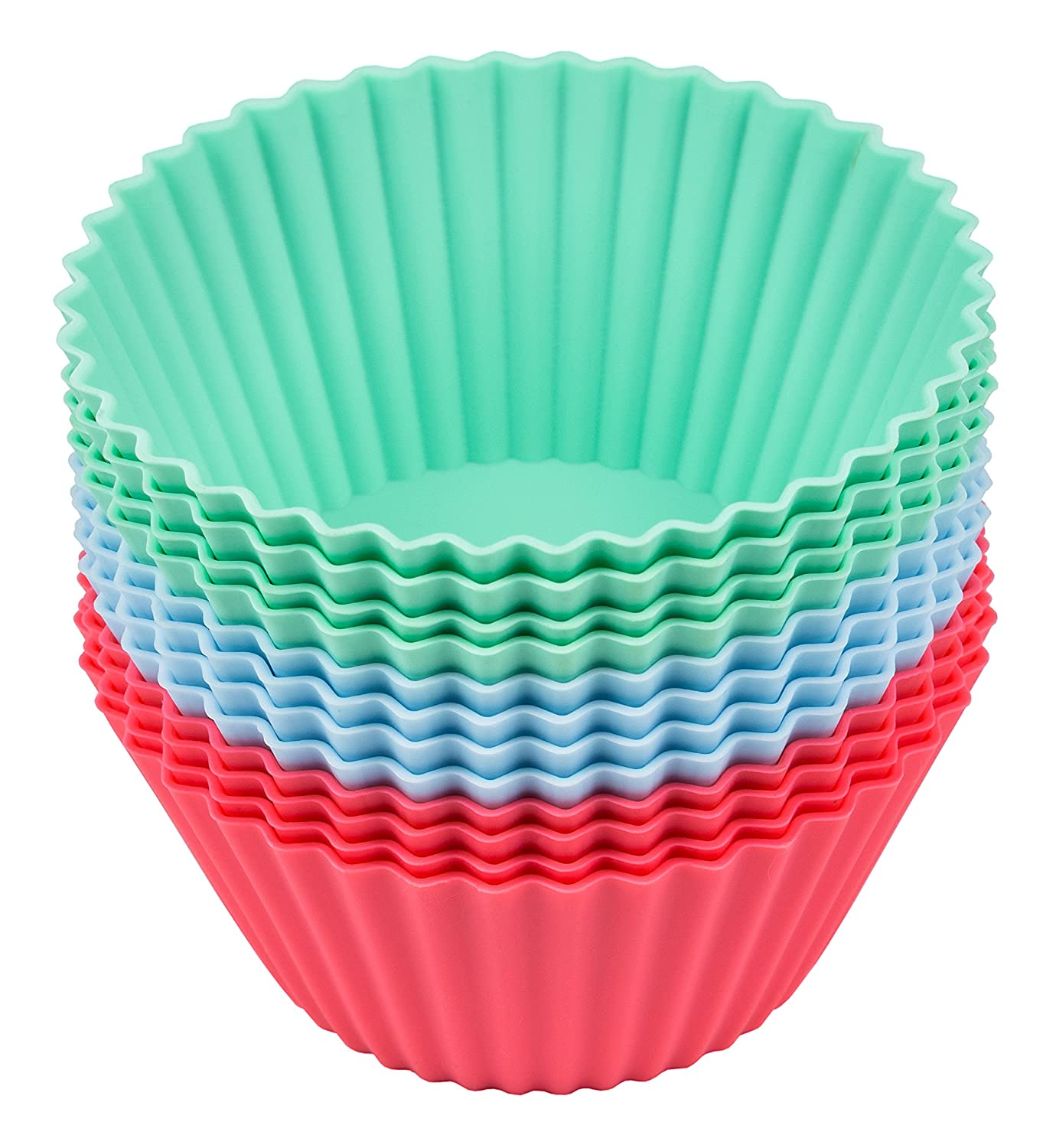 Lurch Germany Flexiform Silicone Cupcake Cases Set of 12 Pink//Green//Blue