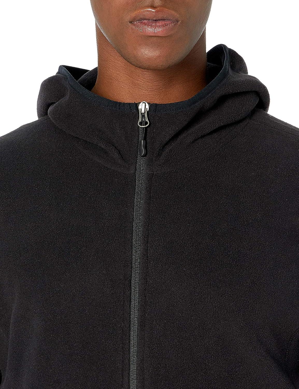 Essentials Men's Long-Sleeve Hooded Full-Zip Polar Fleece Jacket: Clothing