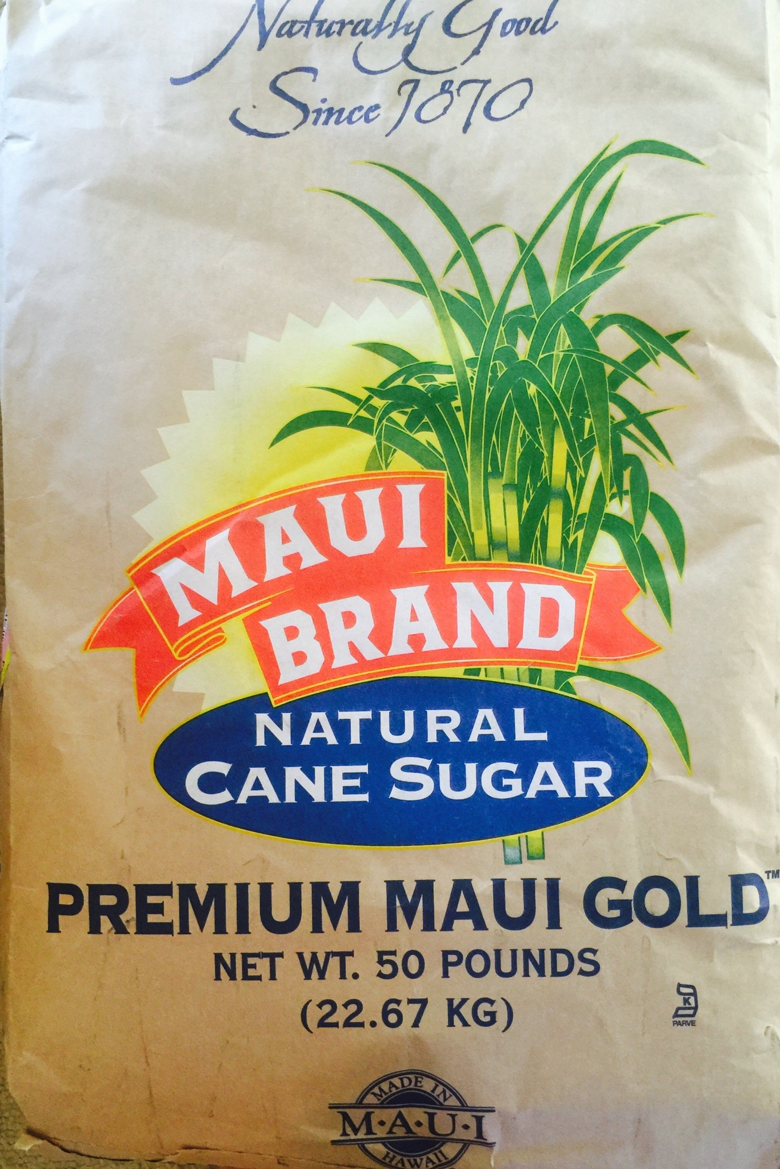 Maui Brand Natural Premium Maui Gold Hawaiian Sugar 50 pound bag