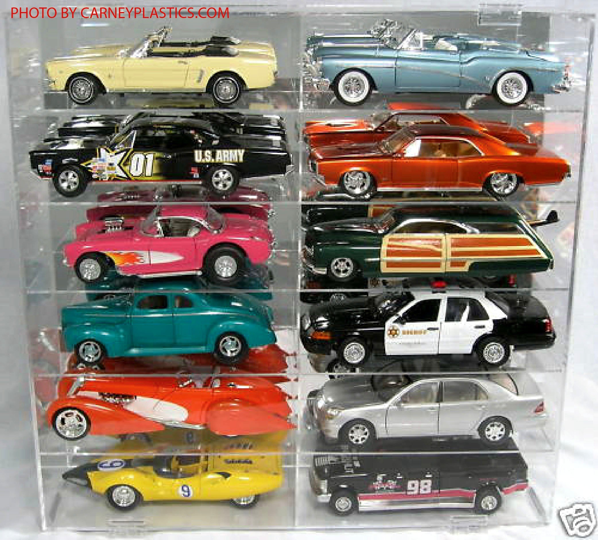 Model Car Display Case 12 Compartment 1:18 Diecast Car Display Case