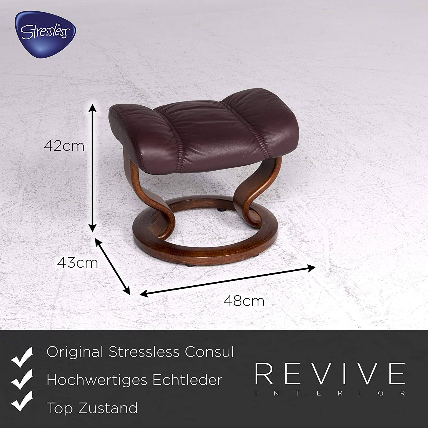 Stressless Consul Designer Leather Armchair Stool Red Brown ...