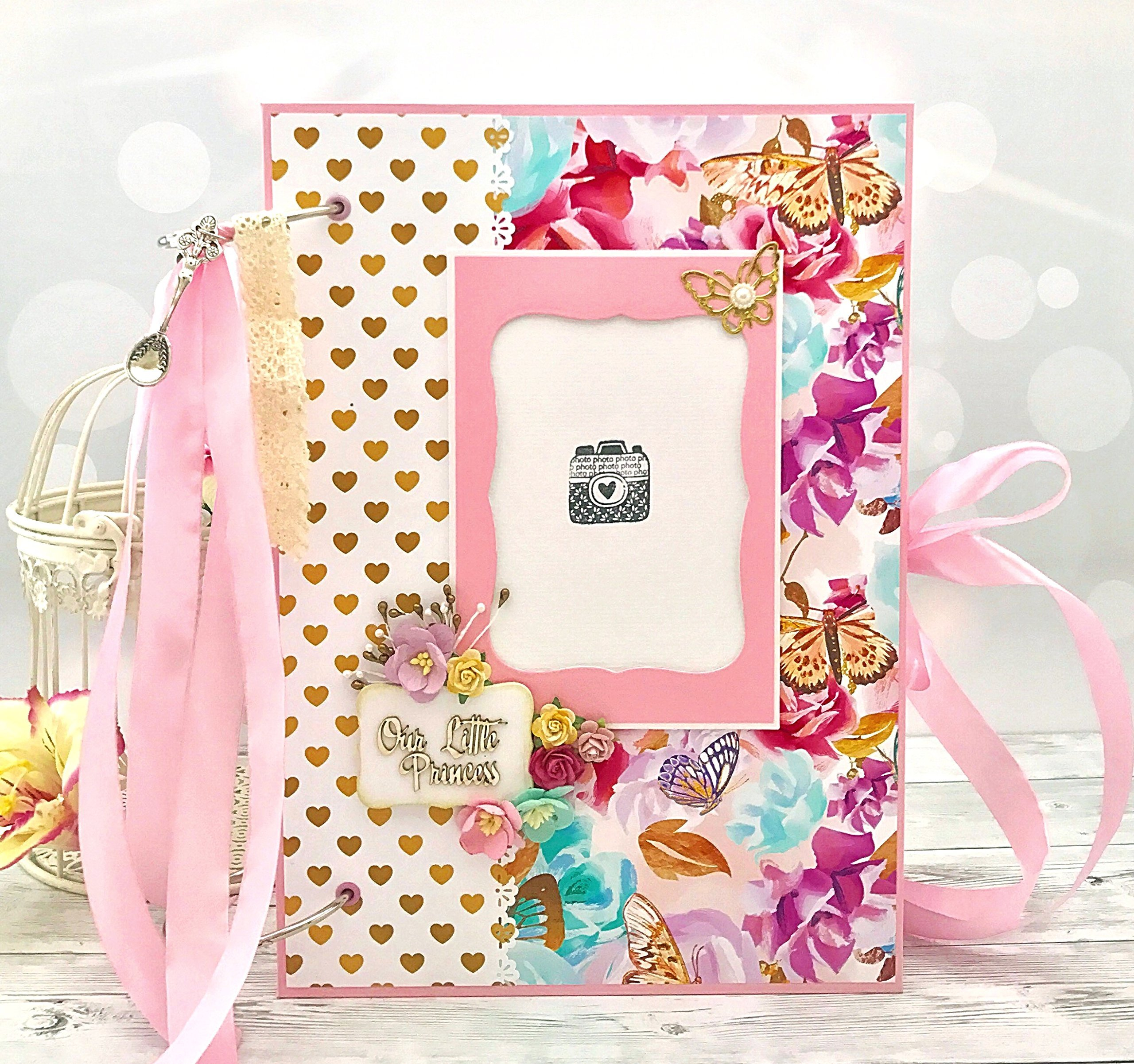Kristabella Creations Butterfly Baby girl memory book, size A4 8x11 inches, Metal ring binding, 20 decorated inside pages, Interactive, Month cards, Milestone card, Beautiful baby shower gift