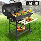 Superworth Large Charcoal Trolley Barrel BBQ Barbecue Grill Big Garden Outdoor Cooking Patio With Heat Indicator Wheels Wooden shelves Smoker