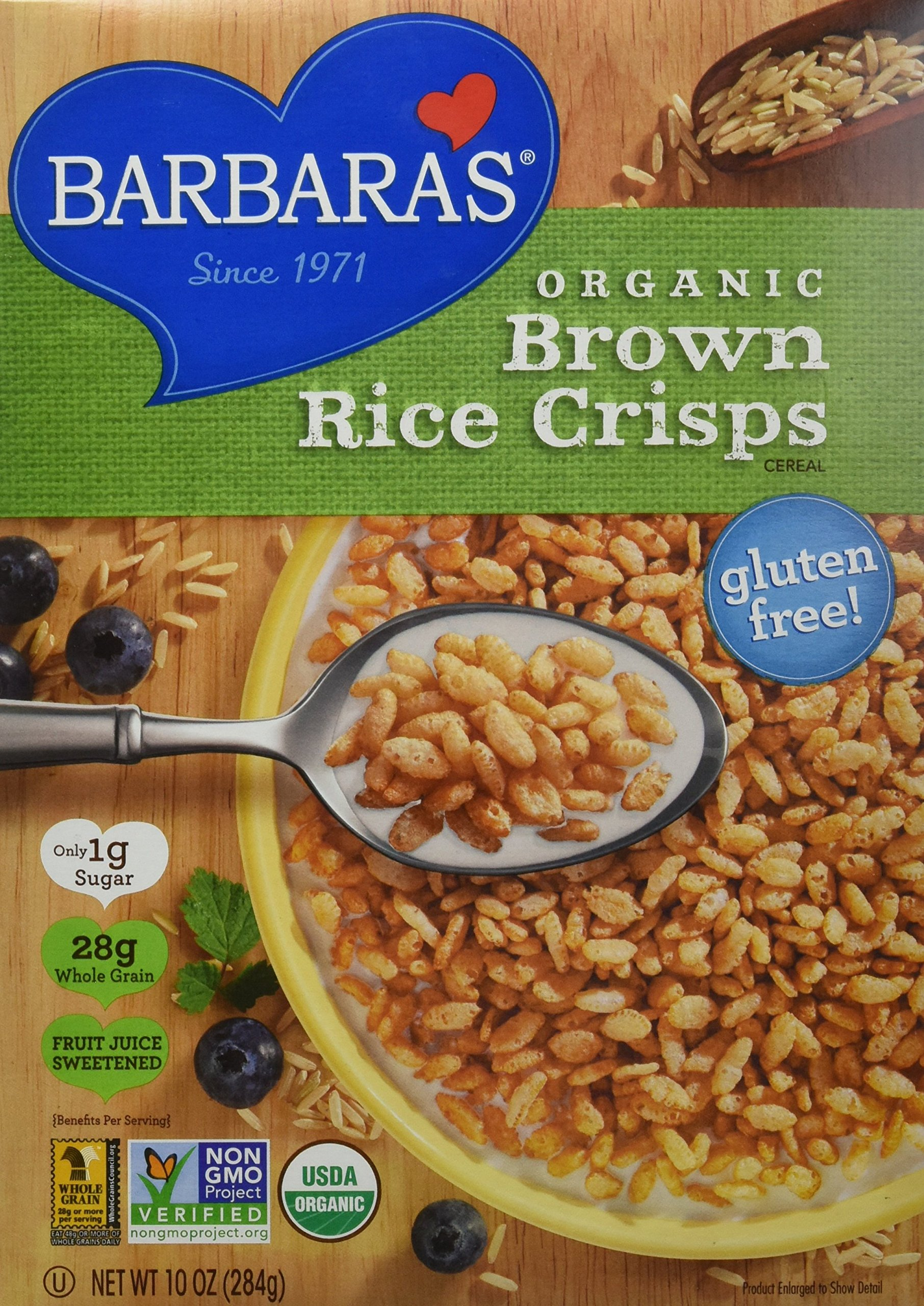 Barbara's Bakery Brown Rice Crisps Cereal 10 oz. (Pack of 6) by Barbara's Bakery
