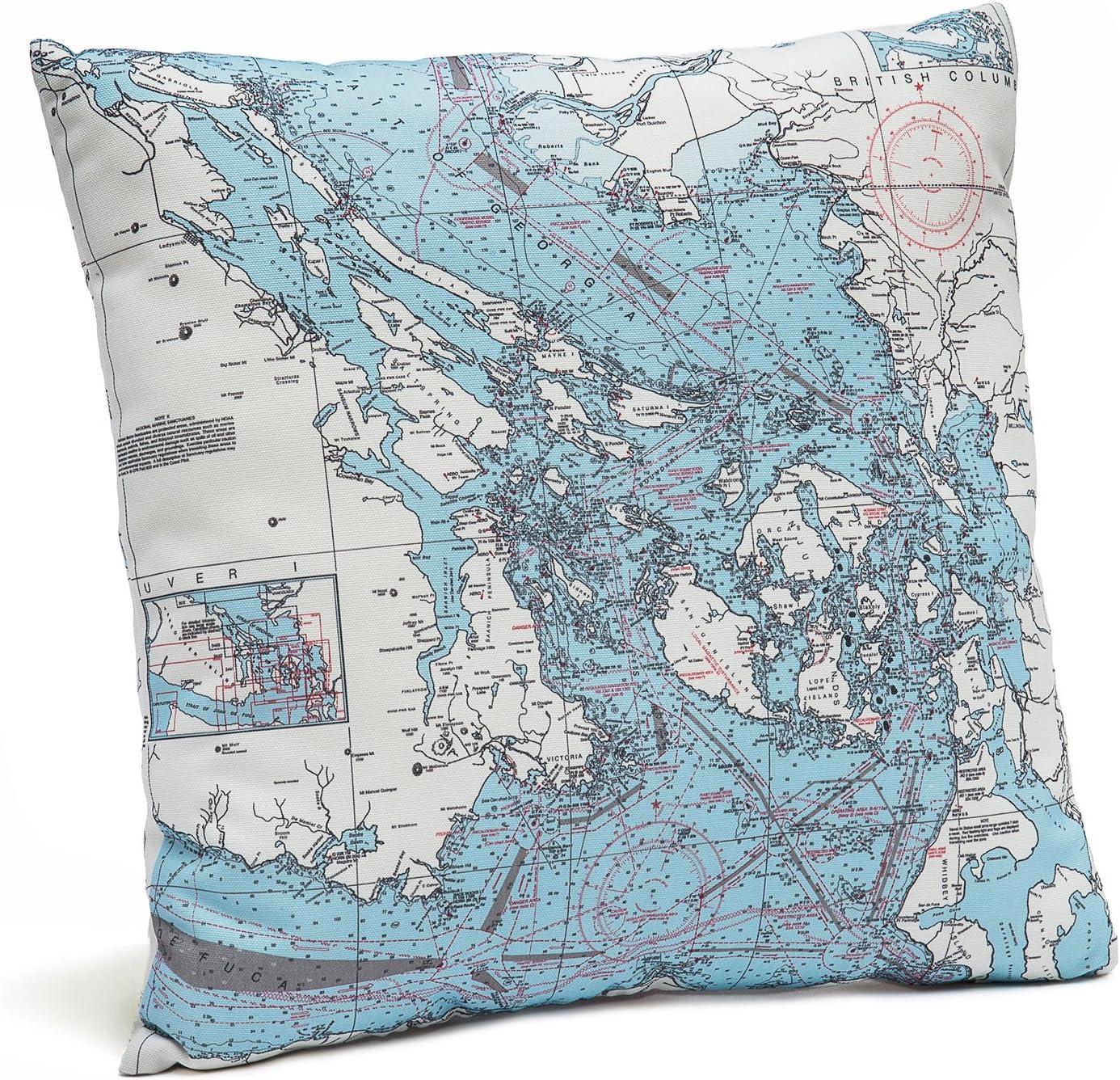 San Juan Islands Indoor/Outdoor Nautical Chart Throw Pillow