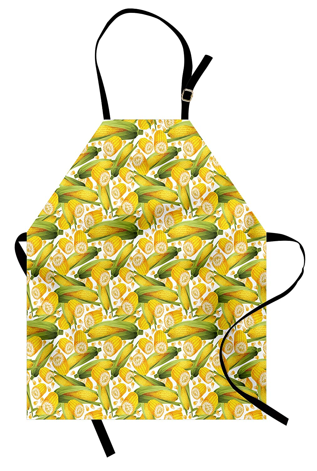 Ambesonne Corn Apron, Vegetable Organic Food Realistic Illustration Yellow Corn Stalks Agriculture, Unisex Kitchen Bib Apron with Adjustable Neck for Cooking Baking Gardening, Yellow Green White
