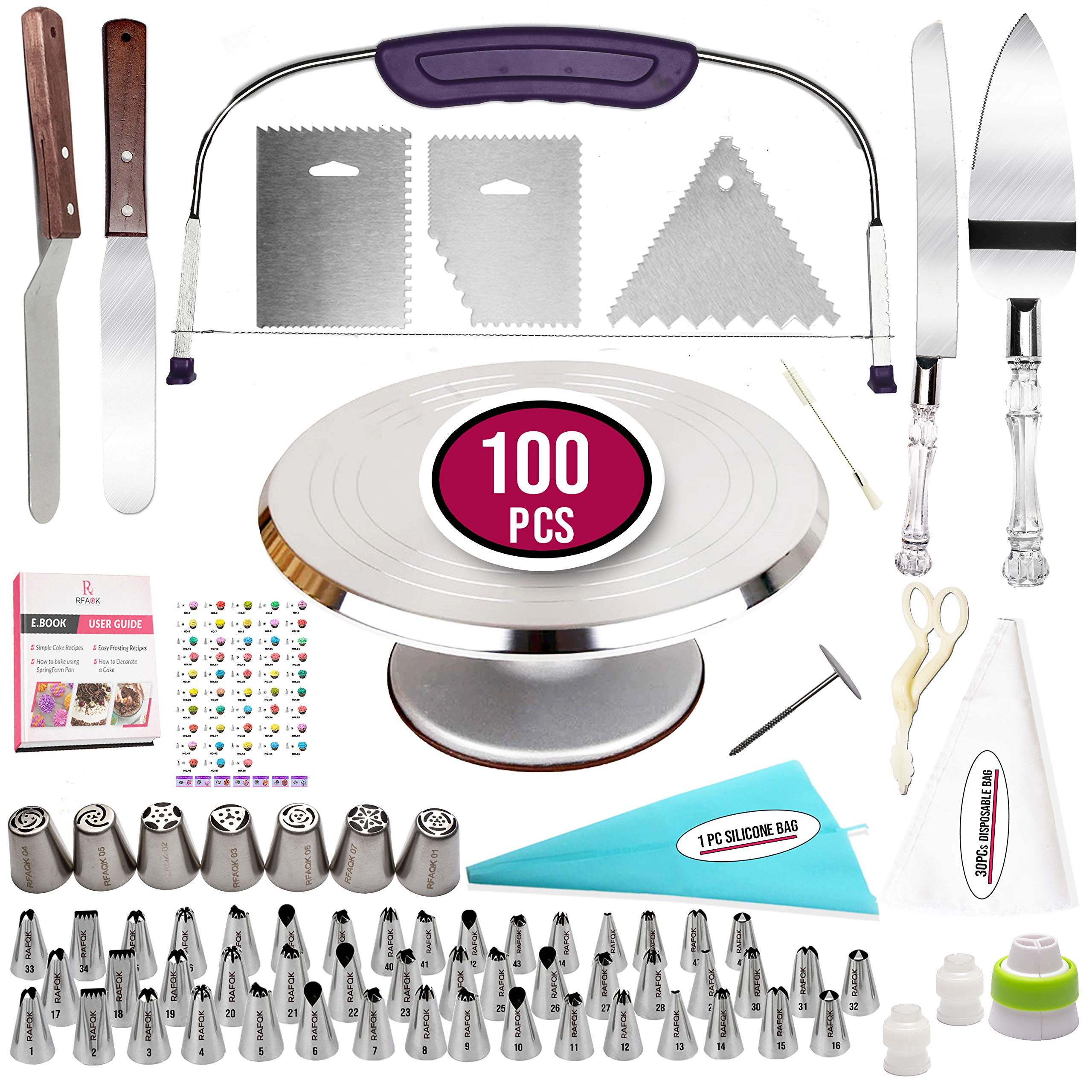 100 Pcs Cake Decorating Kit with Aluminum Metal Turntable-Rotating Stand-Cake server & knife set-48 Numbered Icing tips-7 Russian Piping nozzles-Straight & Angled Spatula-Cake Leveler& Baking supplies