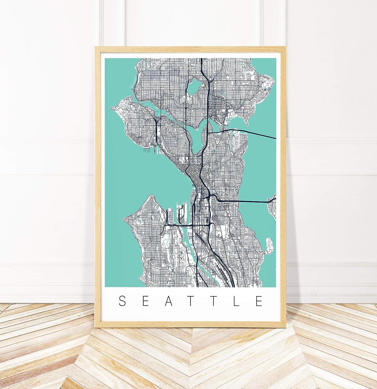 Amazon.com: Seattle Map Art Print - Map of Seattle ...