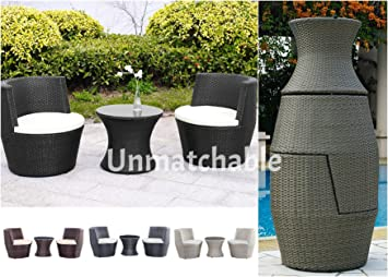 3pc rattan vase stackable garden set in 4 colours includes 2