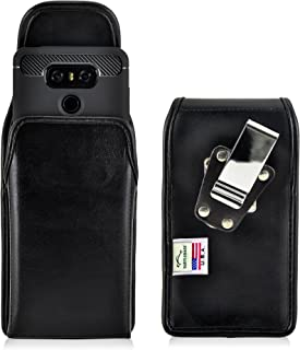 product image for Turtleback Belt Case Compatible with LG G6 Black Vertical Holster Leather Pouch with Heavy Duty Rotating Ratcheting Belt Clip Made in USA