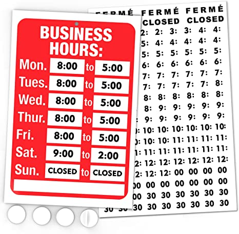 Open Signs, Business Hours Sign Kit - Bright Red and White Colors - Includes 4 Double Sided Adhesive Pads and a Black Vinyl Number Sticker Set - Ideal ...