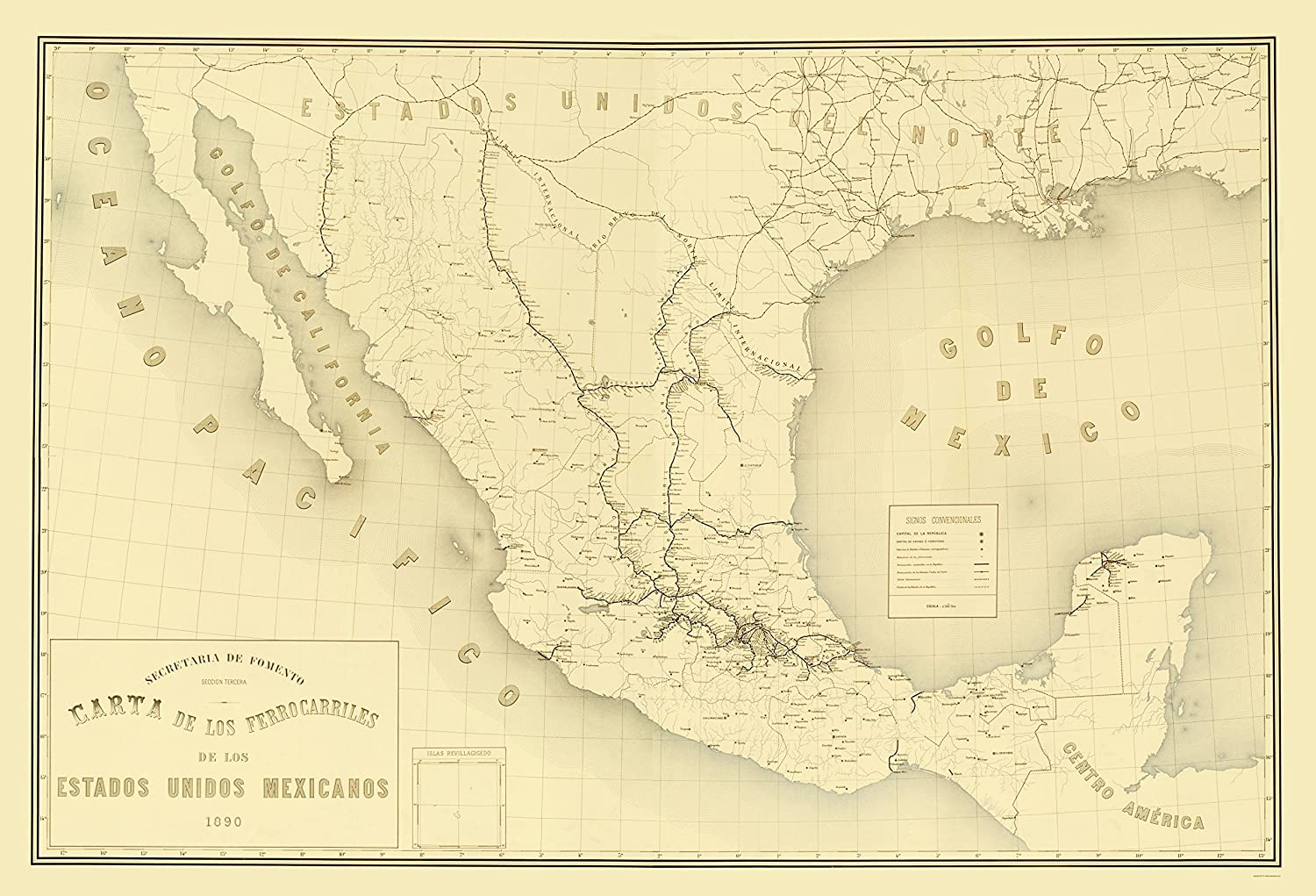 Golfo De Mexico Map.Amazon Com Old Mexico Map Mexico Railroads Hermanos 1890 23 X