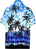 LA LEELA Shirt Casual Button Down Short Sleeve Beach Shirt Men Aloha Pocket 211