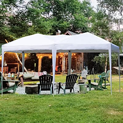 charaHOME Sturdy Outdoor Canopy Pop up Shelter Tent Instant Portable with Carry Bag Gazebo Pavillion for Wedding Part Camping Patio BBQ Beach Garden Adjustable Folding, 10X20 ft White : Garden & Outdoor