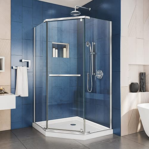 DreamLine Prism 34 1 8 in. x 72 in. Frameless Neo-Angle Pivot Shower Enclosure in Chrome, SHEN-2134340-01