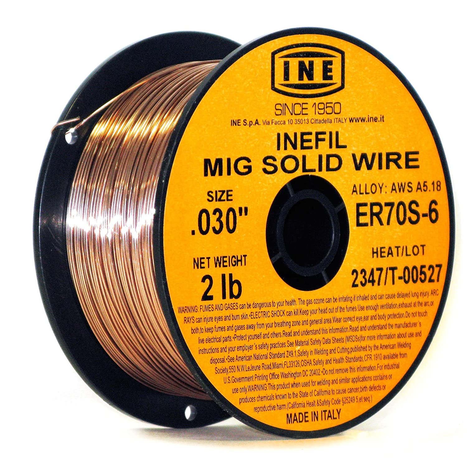 INEFIL ER70S-6 .030-Inch on 2-Pound Spool Carbon Steel Mig Solid Welding Wire INE USA 8024499230108