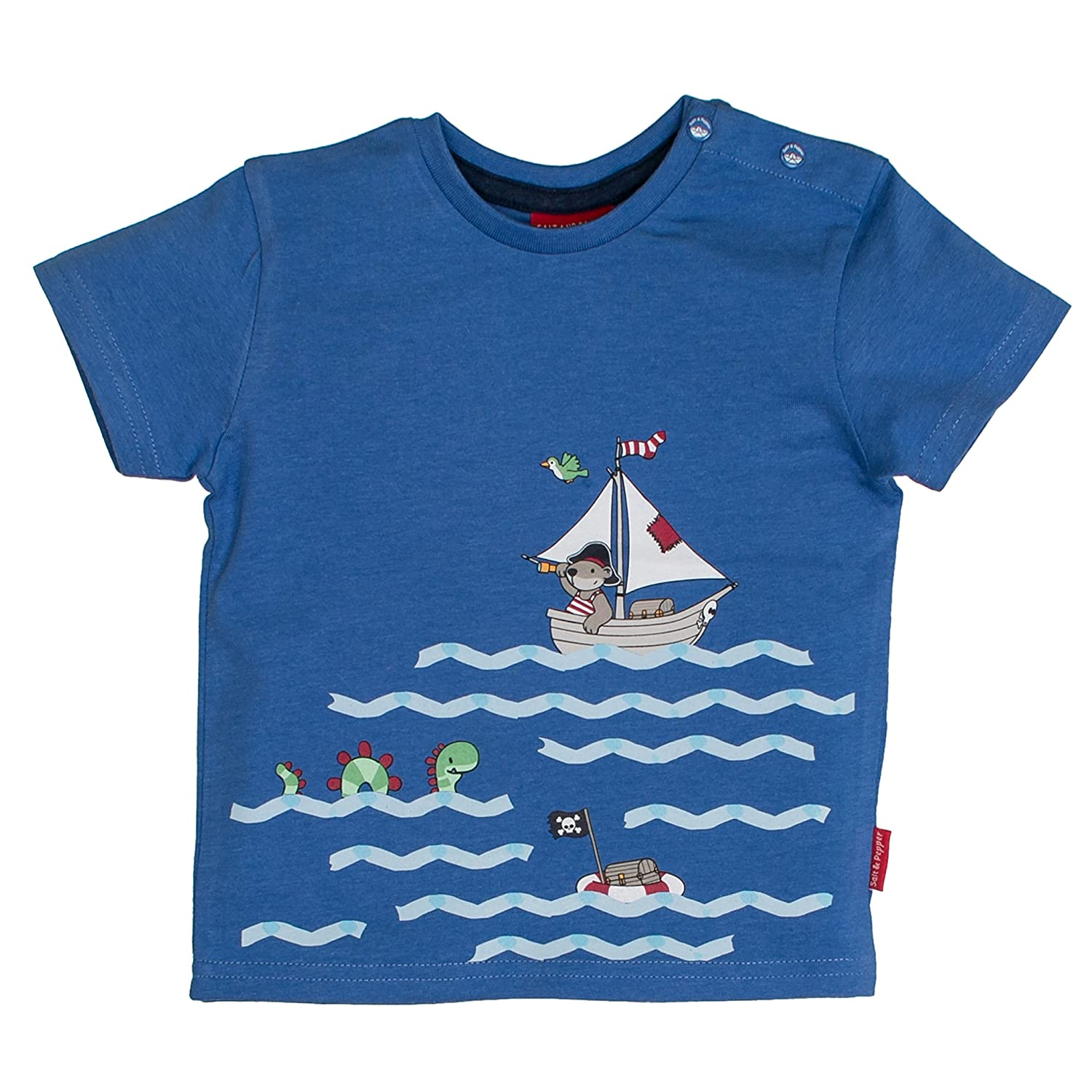 SALT AND PEPPER Baby-Jungen B T-Shirt Pirat Uni Print Blau (Blue Melange 448) 68 83212134