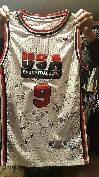 e4883ef608ba 1992 Olympic Dream Team signed jersey auto Jordan Malone Drexler Robinson  at Amazon s Sports Collectibles Store