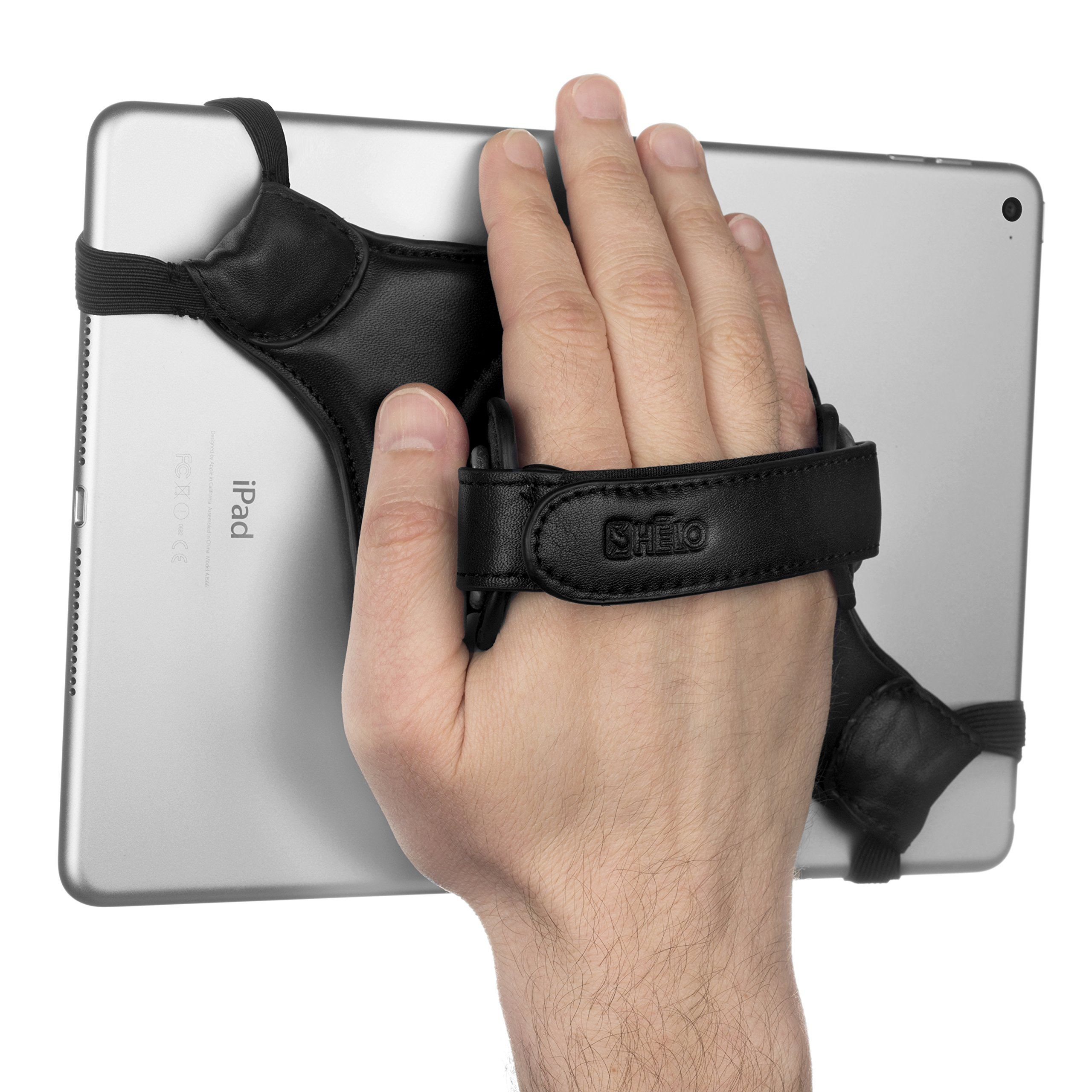 HELO Tabletstrap Pro | Leather 360 Degree Rotation Security Hand Holder Strap for Android and iPad Full Sized Tablets | Extra Loop Sets to Customize Fit with Case or Alone