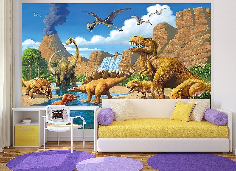Fototapete Kinderzimmer Abenteuer Dinosaurier - Wandbild ...