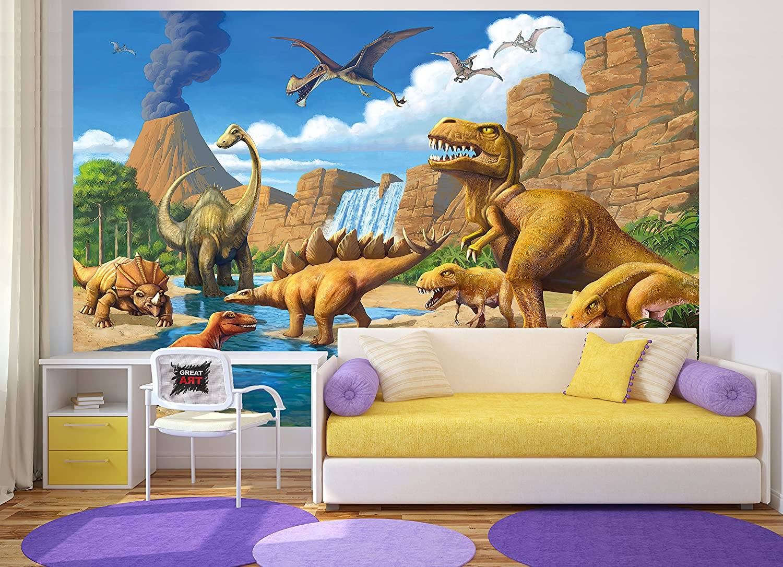 great-art Fototapete Kinderzimmer Dino Abenteuer Dinosaurier ...