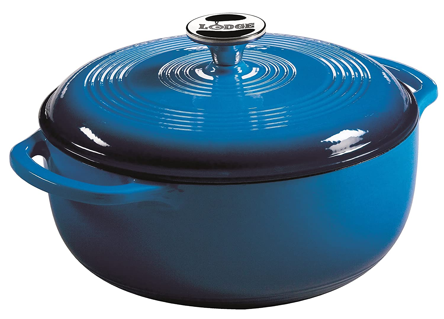 Lodge 4.5 Quart Enameled Cast Iron Dutch Oven. Blue Enamel Iron Dutch Oven (Carribbean Blue) - EC4D33