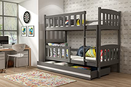 Giacomino - Litera de 190 x 90 con cajón, cama para niños y jóvenes,