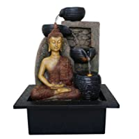 Meditating Buddha Indoor Water Fountain with LED Light | Size: 21 * 17.5 * 25 Cm | 3 Pin UK Plug Included |