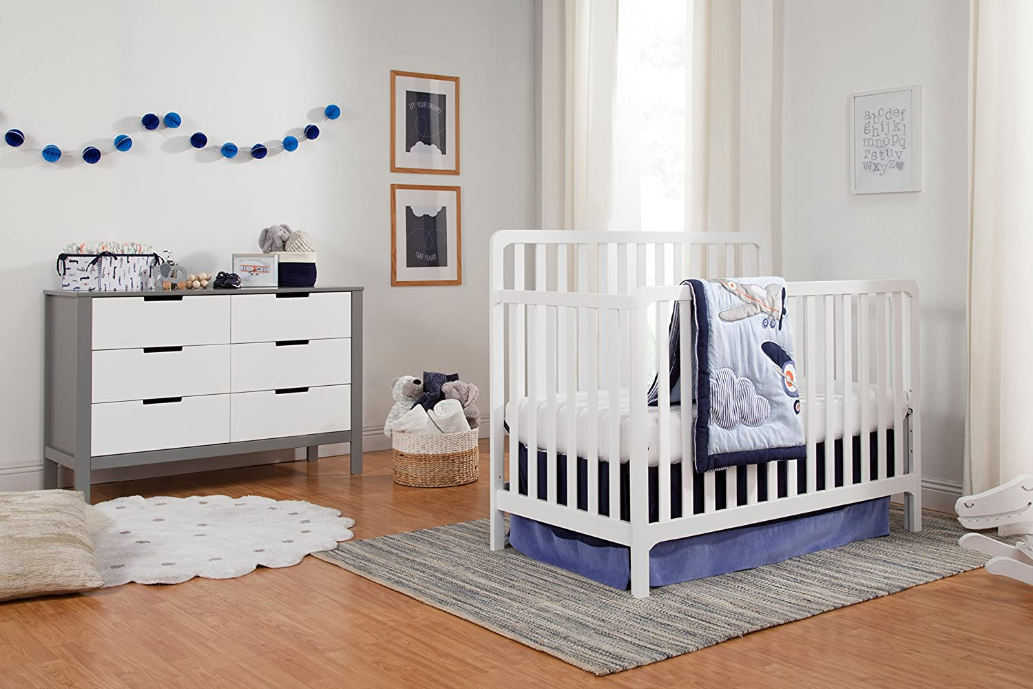 Carters by DaVinci Colby 6-Drawer Double Dresser Grey and White