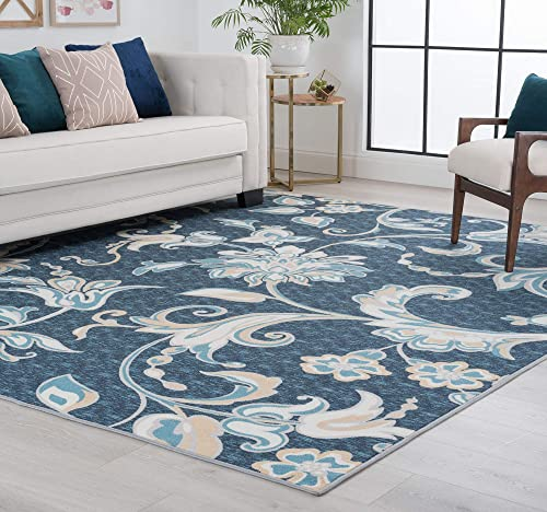 Tiera Navy 7×10 Rectangle Area Rug for Living, Bedroom, or Dining Room – Transitional, Floral