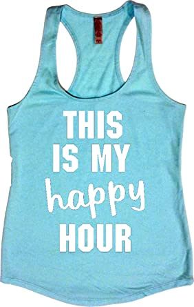 3b67620c7a Amazon.com: Orange Arrow Womens Workout Tank Tops - This is My Happy Hour - Crossfit  Racerback Loose Fit: Clothing