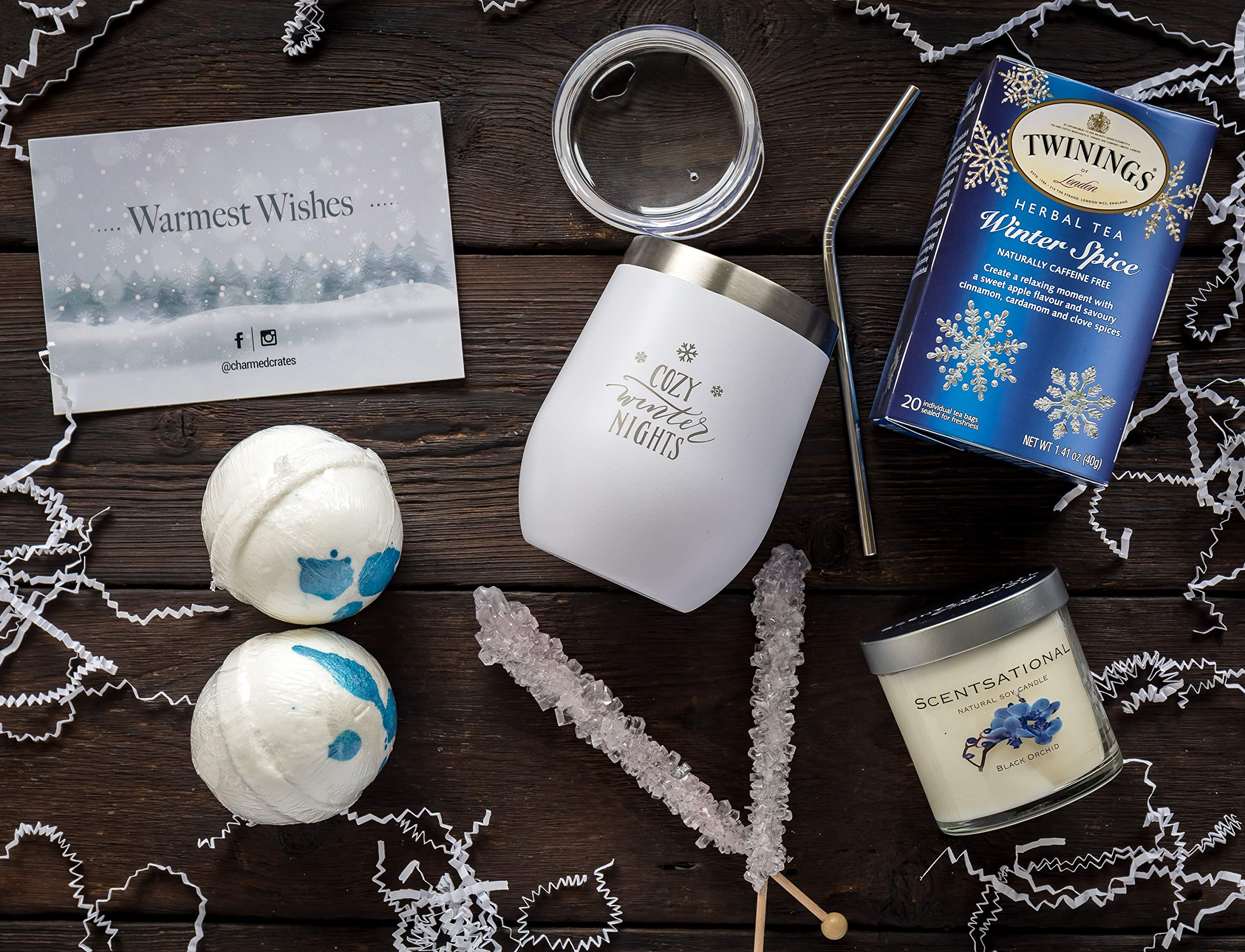 Relaxation Gift Basket for Women: Stainless Steel Wine Tumbler, Scented Candle, Bath Bombs, Tea & Candy Set for Her by Charmed Crates (Image #5)
