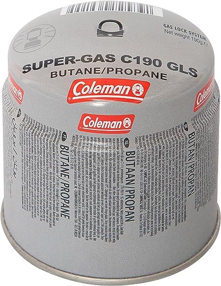 Coleman Cartucho de gas C190 GLS para hornillo de camping, cartucho de gas con mezcla de butano y propano 80-20, peso de relleno: 190 g, desechable