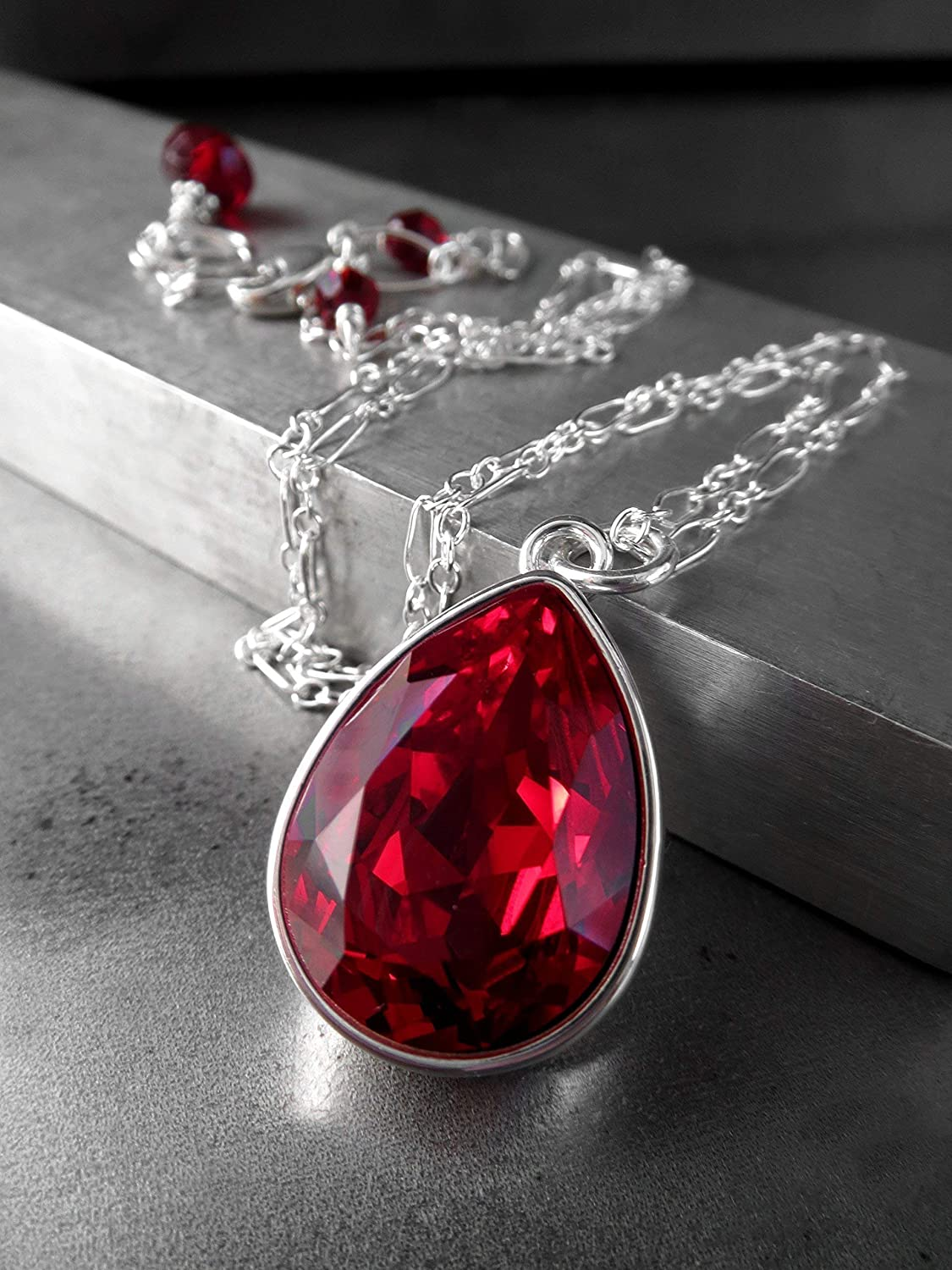 Amazon.com  Deep Red Crystal Teardrop Pendant Necklace with Swarovski  Crystal - Christmas   Valentines Day Jewelry  Handmade b4a59a27c0