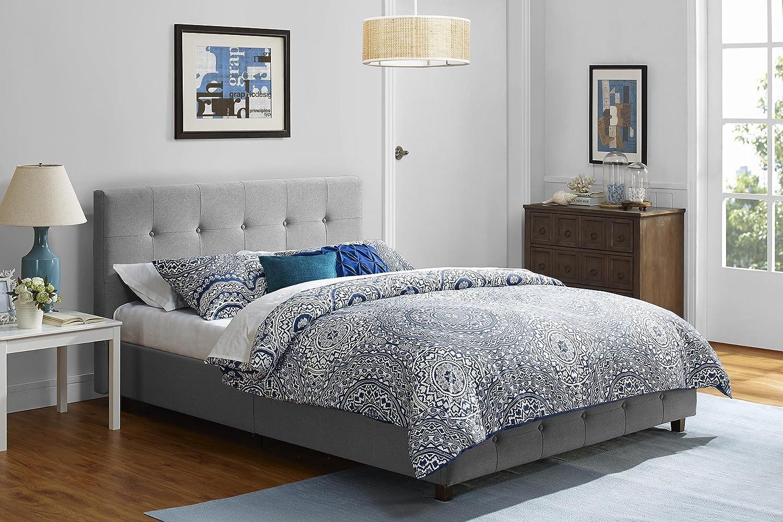 DHP Platform Bed, Rose Linen Tufted Upholstered Platform Bed