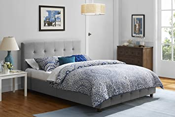 DHP Rose Linen Tufted Upholstered Platform Bed, Button Tufted Headboard And  Footboard With Wooden Slats