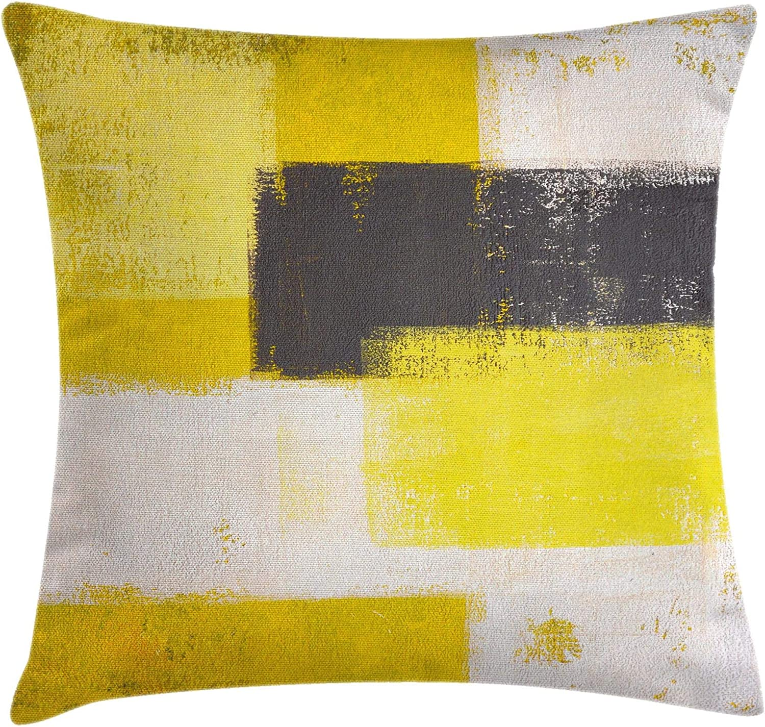 Amazon Com Ambesonne Grey And Yellow Throw Pillow Cushion Cover Abstract Grunge Style Brushstrokes Painting Style Decorative Square Accent Pillow Case 20 X 20 White Charcoal Home Kitchen