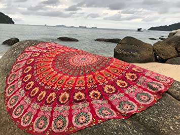 raajsee Red Round Beach Tapestry Hippie/Boho Mandala Beach Blanket/Indian Cotton Throw Bohemian Round Table Cloth Mandala Decor/Yoga Mat Meditation ...