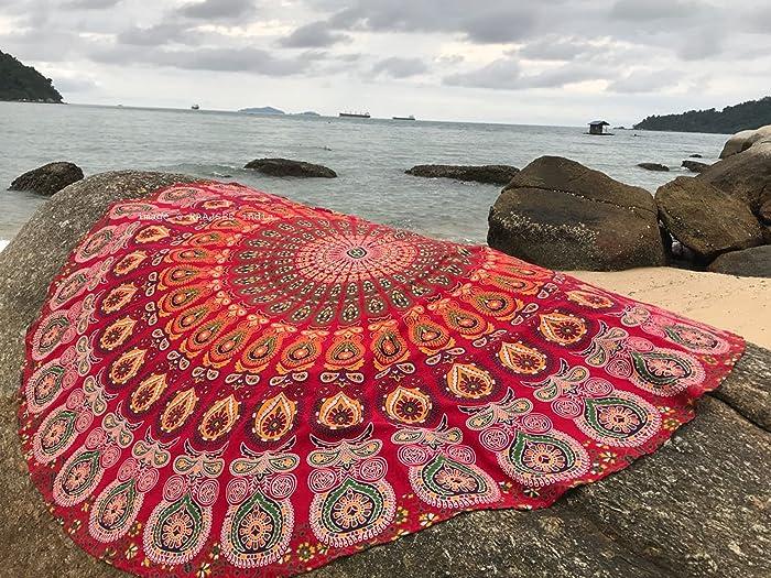 raajsee Round Beach Red Tapestry Hippie/Circle Mandala Beach Blanket Indian Cotton Bohemian Round Table Cloth Mandala Decor/Boho Yoga Mat Meditation Picnic Rugs 70 inch