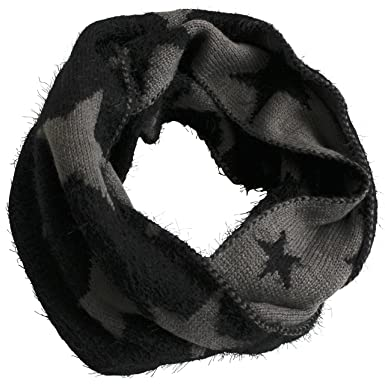 FERETI Souple écharpe Avec étoiles Noir Etole Tube Circulaire Foulard  Tricot Ronde Snood e8d021b0a8c