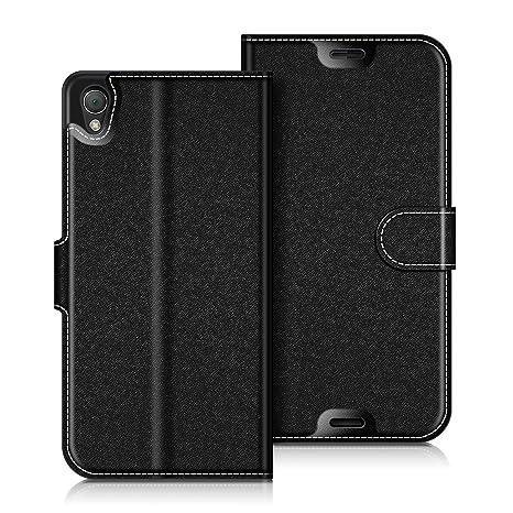 coodio Sony Xperia Z3 Hülle Leder Lederhülle Ledertasche Wallet Handyhülle Tasche Schutzhülle mit Magnetverschluss/Kartenfäch