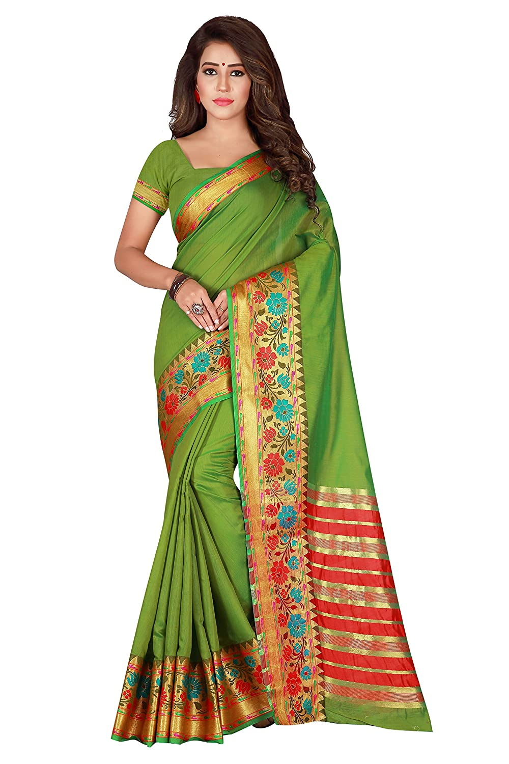 Florence pure cotton Printed Saree With Blouse(FL-Kat_Green1)