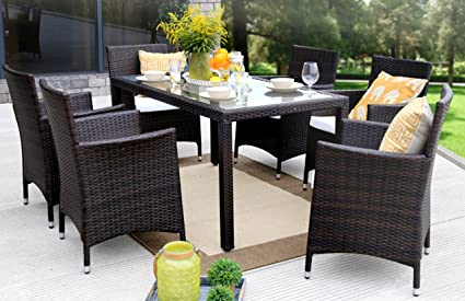 Baner Garden 7 Pieces Outdoor Furniture Complete Patio Cushion PE Wicker  Rattan Garden Dining Set,
