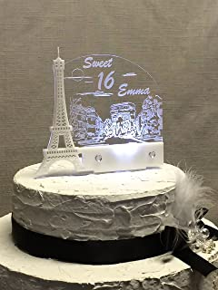 Personalized Paris Eiffel Tower Dream Cake Topper For Sweet 16 Personalizedled