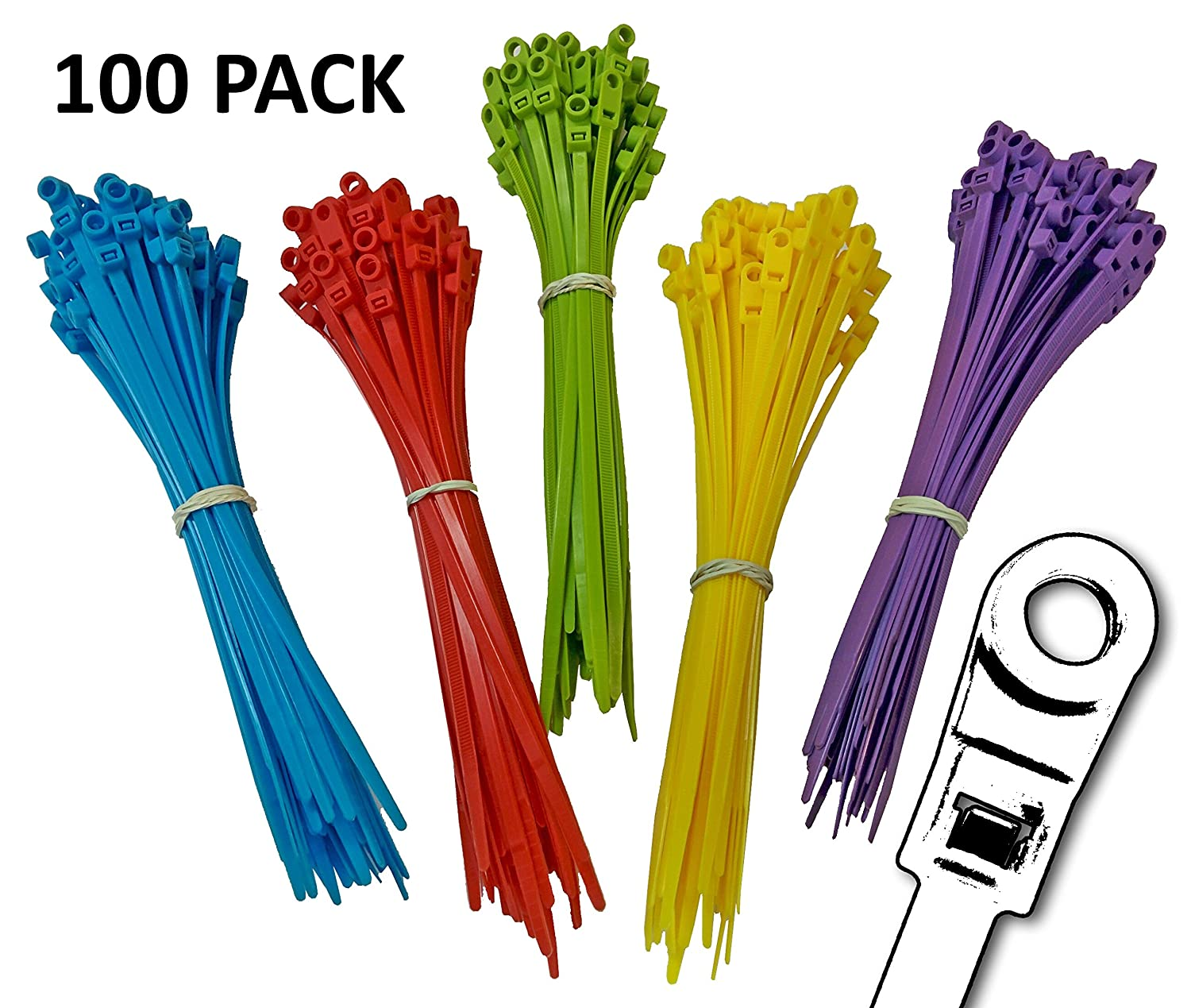 Multicolor Blue, Red, Green, Yellow, Fuchsia, Orange, Gray, Purple 50 lbs 8 Nylon Mounting Cable Ties 500 Pack