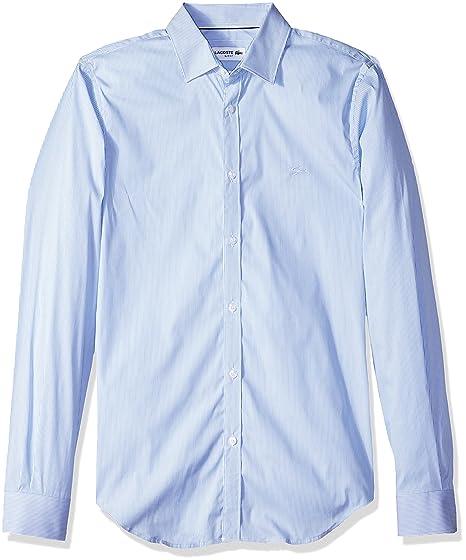2b9717cb Lacoste Men's Long Sleeve Slim Fit Striped Stretch Poplin Button ...